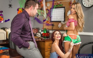 There's a costume party going on at the office. Monique and Nicole dress up in their most revealing costumes. This doesn't fly well with their boss, Johnny. He thinks they are showing too much skin for the office, but the girls see that his peni