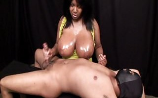 black girl handjob with huge boobs