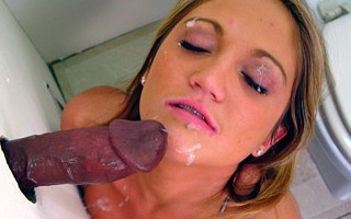 Spring Thomas sucks off black gloryhole cum