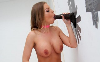 Busty pornstar Britney Amber tries a bbc glory hole