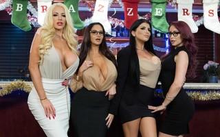 Office Christmas bonuses with Ava Addams, Monique Alexander, Nicolette Shea & Romi Rain