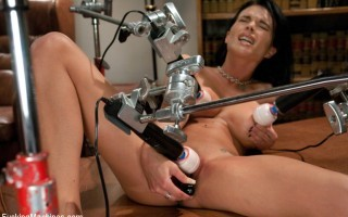 Archive Classic: Girl spread and pinned down by four vibrators while the machines fuck orgasm after orgasm out of her pussy and ass.