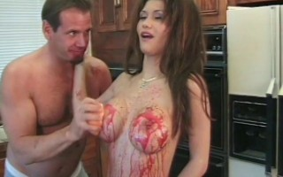 Busty Babe Rubs Food on Tits Gets Rough Sex
