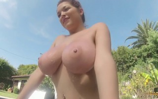 Hey guys and happy weekend! I have my sexy big tits busting out of my striped bikini for you today, courtesy of my GoPro camera that always gives those great closeup angles.