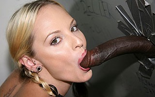 Teen punk fucks & sucks black dick at gloryhole