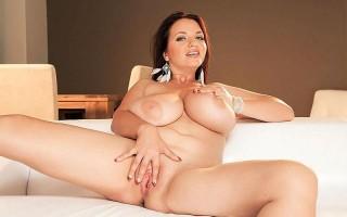 Joana Bliss in white lingerie gets naked