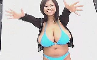 Naturally busty asian model in blue bikini