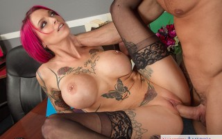 Anna Bell Peaks is interviewing for a new position, but the hiring manager explains that she might not fit in because of all her tattoos. Anna is willing to do anything to get the job, even if it means fucking the hiring manager.