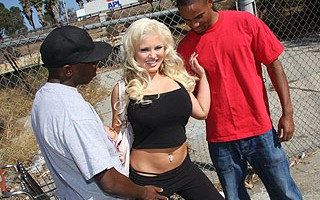 Andi is a little nervous. She's been fucking 2 different black dudes, and has decided the best way to decide which one she likes best is for them to have a fuck-off.  They both protest, but Andi is holding all the goodies, so they have to go along with it