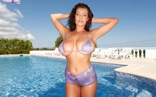 New hot babe Elle Faye purple sparkle bikini