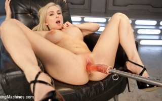 Hot blonde with big tits gets pounded by our machines.