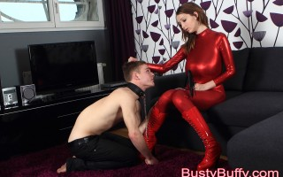 Busty Buffy spanks, humiliates and punishes a guy