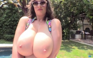 Lana Kendrick getting kinky wearing her colorful swimsuit while showing her big boobs