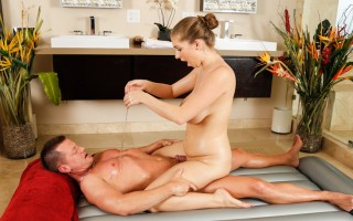Alex Chance gives her 1st erotic massage & gets cum on tits