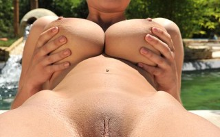 Katarina Plays With Her 34DD Melons & Masturbates Poolside