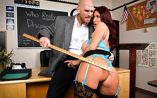 Tiffany has a student teacher, Johnny, to help her handle her class. She's pleased with his lecturing skills, but Tiffany thinks she needs to show Johnny how to discipline a sexy student when one asks for