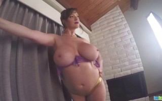 Lana Kendrick Big Juicy Boobs Covered With Purple Bra