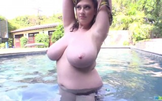 Lana Kendrick at Poolside Teasing With Her Huge Yummy Titties