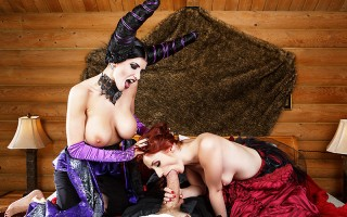 The Slutty witch of the west, that Busty enchantress Maleficunt (AKA Romi Rain), has her eyes on the princess Aurora (AKA Violet Monroe), and her well hung suitor, Danny D. To get her deepest and dirtiest desires, Maleficunt resorts to dark magic, ensorce