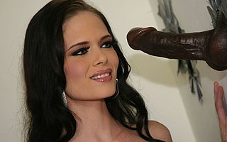 Hot brunette tramp sucking a black cock