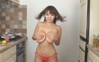 Hot busty asian with giant natural breasts in red bikini