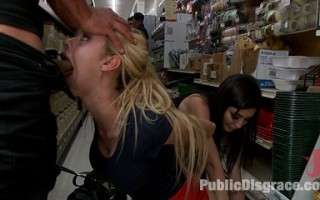 Gorgeous blonde 18 year old with a giant ass and big fake tits gets disgraced in a hardware store. Public sex, groping, squirting, and humiliation!