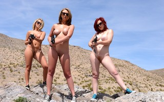 Mary Jane Mayhem, Brooke Wylde, and Chloe Addison were out in the desert, practicing their marksmanship skills and getting their tan on. The kickback made their mouth-watering big tits jiggle, but none of the busty sluts would let the hot sun on their nak