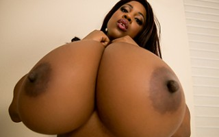 A stroke of luck brought Keiran to Maserati's door, and at just the right time. As he rang the bell, this lusty Ebony lady's fingers were deep in her pussy, and still wet when she went to greet him. The sight of her huge natural boobs busting out of her t