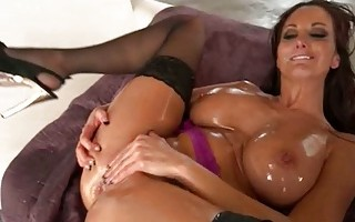Oily Woman Having Double Fun
