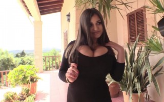 Classy Demmi Blaze Slides Down Her Black Dress To Show Her Natural Huge Tits
